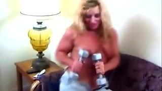 Over Muscled Blonde Striptease