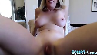 Squirter Blond Milf Justy Fucks Old Meaty Cunt