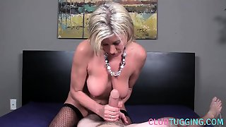 Fishnet Mature Jerking Pov Cock While Posing