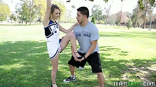 Sporty Blond Haired Filth Sucks Cock Of Her Freak Proving That She Is Flexible