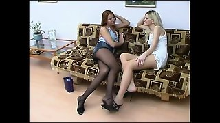 Hot Blonde Lesbian Amateur Threeway Oral And Strapon Bang