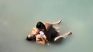 Voyeur Busts A Bbw With Huge Tits Fucking In The Sea