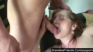 Mature Employment Officer Is Fucked By Two Guys