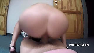 Public Agent Fucks Babe At Stairwell