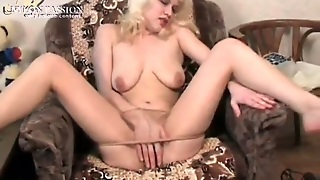 Blonde Slowly Teases In Her Sheer Pantyhose