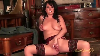 Mom In Perfect Stockings Masturbates Solo