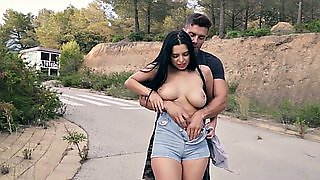 Big Breasted Brunette Babe Rides Cock In Public