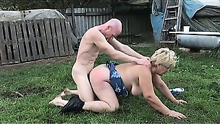 He Comes Over To Help This Fat Old Granny And Cums On Her Big Tits Instead