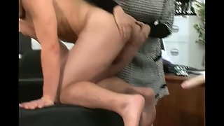 British Femdom Office Strapon Humiliation