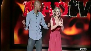 Live Tv Show With A Black Dude And A Blonde With Jiggling Tits
