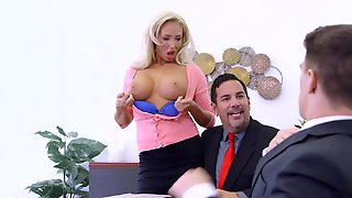 A Blonde With Large Tits Opens Up Her Snatch To Receive A Big Hard Cock