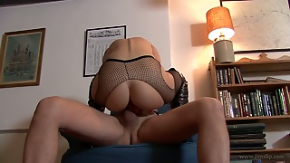 Leggy Teen In Fishnet Stockings Rides Jim Slip