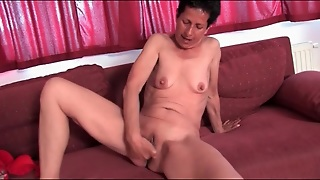 Granny Fingers Her Wet Bald Pussy