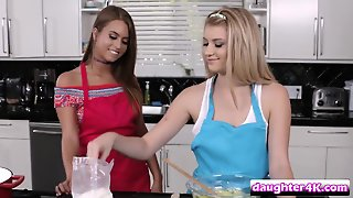 Amazing Lesbian Sex In A Kitchen