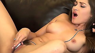 Dani Daniels Smiles While Working On Making Herself Have An Orgasm