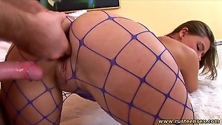 Babe In Blue Fishnets Does Doggystyle Sex
