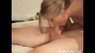 Awesome Blonde Deepthroat Swallow