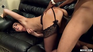 Black Couch And A Black Cock
