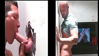 Dude Getting Gay Gloryhole Blowjob