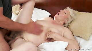 Mature With Gigantic Boobs Lets Hot Guy