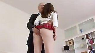 Brunette Masturbating For Old Man