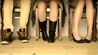 Under The Table Upskirt With Two Ladies