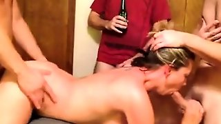 Blonde Milf Housewife Having Group Sex In A Kitchen