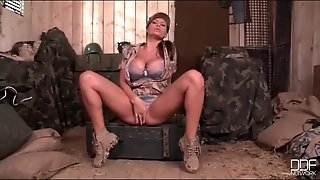 Big Tits Military Girl In Satin Bra And Panties