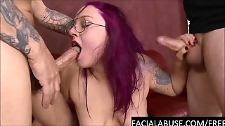 Cute 4 Eyed Slut Face Fucked To Puke