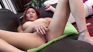Asian Redhead Plays With Pussy