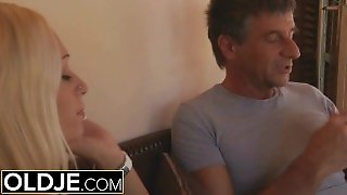 Old And Young Porn - Blonde Young Anal Fuck With Old Man And Teen Orgasm