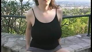 Busty Girl Peeing Outdoor