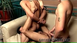 Hot Loads Of Cum Flying In Gay Threesome