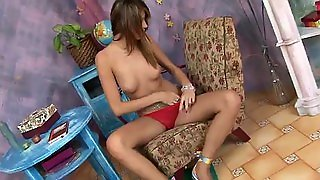 Horny Brunette Plays With Her Tight Pink Pussy