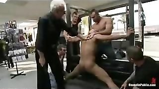 Bound Gay Whipped By Group Of Gays In Porn Shop