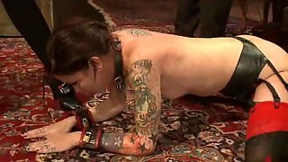 Playing With Two Tattooed Submissive Babes In Wild Bdsm Party