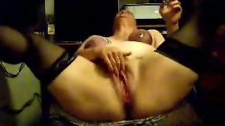 Old Granny Smokes And Cums With Her Boobs Chained