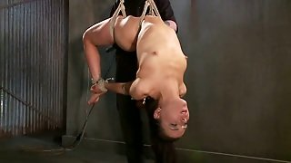 Juliette March Gets Her Shaved Pussy Fucked With A Toy In Bdsm Vid
