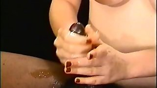 Amateur Interracial Handjob With A Pale Big Boobed Chick