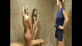 Two Girls And Teacher In The Bathroom