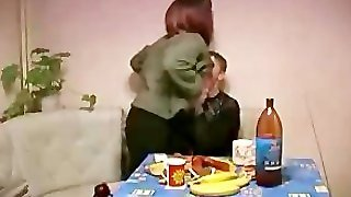 Russian  Mom Celebrating With Young Neighbour