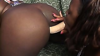 Chubby Black Lesbians Lick And Toy, Then Use A Double Dildo To Bump Asses