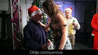 Eight Seniors Get Pervert And Gangbang A Tempting Santa Dressed Lady