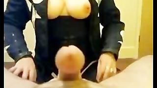 Femdom With Nice Boobs Playing With Cock