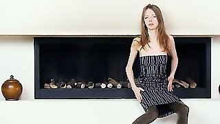 Ultra Skinny Teenager By The Fireplace