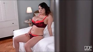 Red And Black Lace Bra On Tigerr Benson