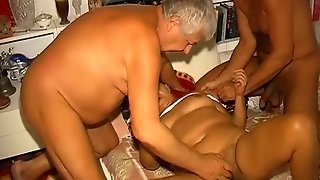 Disgusting Mmf Scene With Fat Tanned Granny And Two Geezers