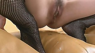 Teen Jyunko Hayama Cums In Fishnet Stockings