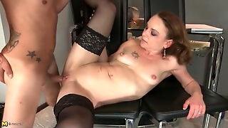 Tiny Tits Mature In Black Stockings Fucked