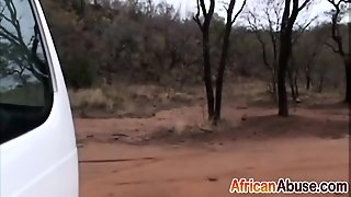 Horny African Babe Blowing White Cock In Car